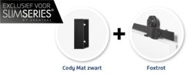 Schuifdeur pakket SlimSeries hang- en sluitwerk 518 - Deurgreep Cody Mat Zwart
