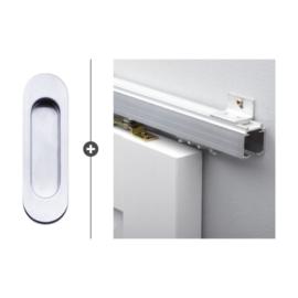 Schuifdeur pakket SlimSeries hang- en sluitwerk 521 - Deurkom Noxia Mat Chroom