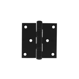 Kogellagerscharnier recht 76x76 mat zwart