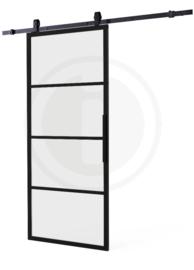 Schuifdeur Cubo Zwart incl. Mat Glas 215x98x2,8 cm + Zwart Ophangsysteem Basic Top
