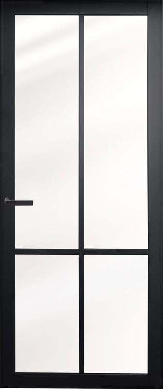 Nero Legno BRESCIA zwarte binnendeur blank vlak glas