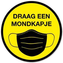 Sticker - Draag een mondkapje - Geel - Vanaf 10 stuks