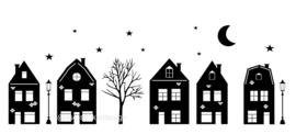 Raamsticker 'Basisstraat met 5 huizen' 2.0,  HERBRUIKBAAR