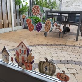 Raamsticker 'Halloween huisjes', HERBRUIKBAAR