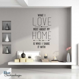 Muursticker 'What I love most about my home'