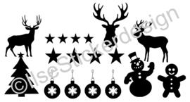 Statische raamsticker 'Diverse kerst'- HERBRUIKBAAR