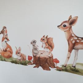 Muurstickers 'Bosdieren' - groot