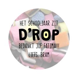 Label full color 'Het schooljaar zit D'ROP' - rond