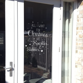 Raamsticker / Muursticker 'All I want for Christmas'