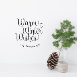 Tekststicker 'Warm Winter Wishes' 20 x 21 cm
