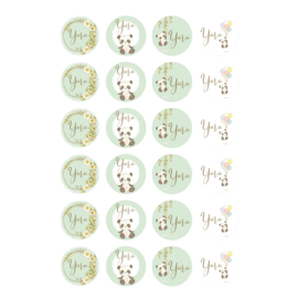 Etiket 'Panda's' - pastel mintgroen -24 stuks