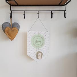 Houten Geboortevlag 'Egels', 20 x 30 cm