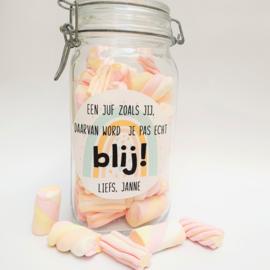 Label full color 'Blij' - rond