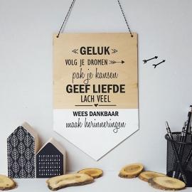 Houten banner / tekstbord 'Geluk'