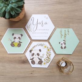 Houten Geboortehexagons 'Panda's', set van 4 stuks