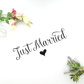 Tekststicker 'Just Married'
