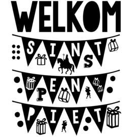 Statische raamsticker 'Welkom Sint en Piet- HERBRUIKBAAR