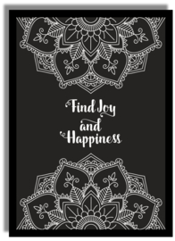 Poster Mandala 'Find joy and happiness' 21 X 29,7 cm A4