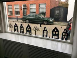 Raamsticker 'Basisstraat met 5 huizen', HERBRUIKBAAR