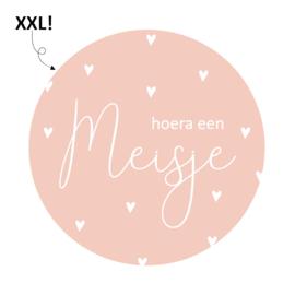 Etiket Hoera een meisje- rond XXL