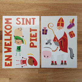 Raamsticker 'Welkom Sint en Piet - full color', HERBRUIKBAAR