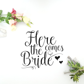 Tekststicker 'Here comes the bride'