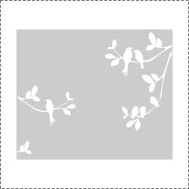 Glasfoliesticker Vogeltjes op tak - band