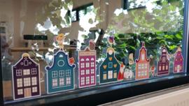 Raamsticker 'Sinterklaas huisjes', HERBRUIKBAAR