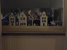 Raamsticker 'Basisstraat met 3 huizen', HERBRUIKBAAR