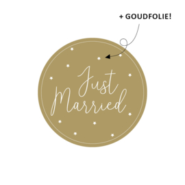 Etiket Just Married - rond - 10 stuks