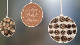 Statische raamsticker 'Kerstballen-Warm Winter Wishes'- HERBRUIKBAAR