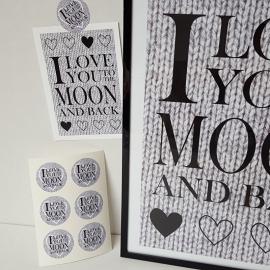 Kleine stickers 'I love you to the moon' 12 stuks