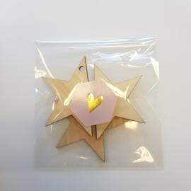 Etiket Hartje goud - zeshoek - 10 stuks