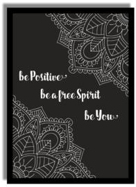 Poster Mandala 'Be positive' 21 X 29,7 cm A4