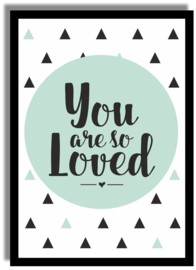 Poster 'You are so loved' 21 X 29,7 cm A4 - VINTAGE GROEN