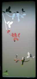 Glasfoliesticker met vogeltjes op tak