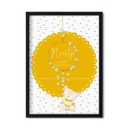 Poster 'Geboorteposter Teddybeertjes' - okergeel A4 / A3