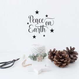 Tekststicker 'Peace on Earth' 20 x 20 cm