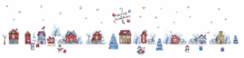 Raamsticker 'Kersthuisjes', uitgebreide set  HERBRUIKBAAR