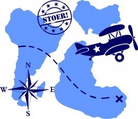 Muursticker landkaart met vliegtuig