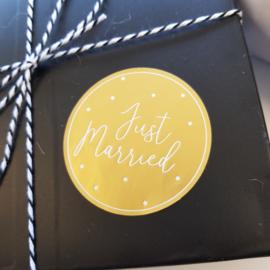 Etiket Just Married - rond - 10 stuks