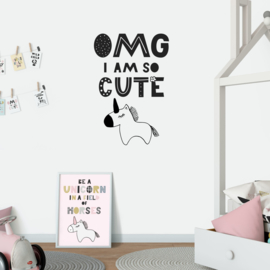 Muursticker 'OMG I'm so cute'