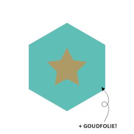 Etiket Ster goud - zeshoek - 10 stuks