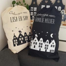 Katoenen zak 'Huisjes' - met eigen naam