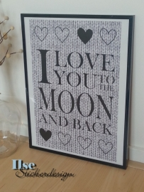 poster 'I love you to the moon and back' 30 x 42 cm A3