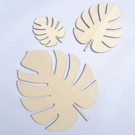 Houten Tropische Bladeren - set van drie