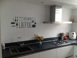 Muursticker 'In deze keuken wordt gekookt met liefde'