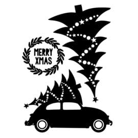 Uitbreidingsset stickers Kerstboom, -auto en -krans, HERBRUIKBAAR