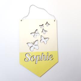 Houten banner 'naam met vlinders'