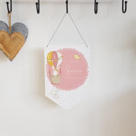 Houten Geboortevlag 'Konijnen meisjes', 20 x 30 cm